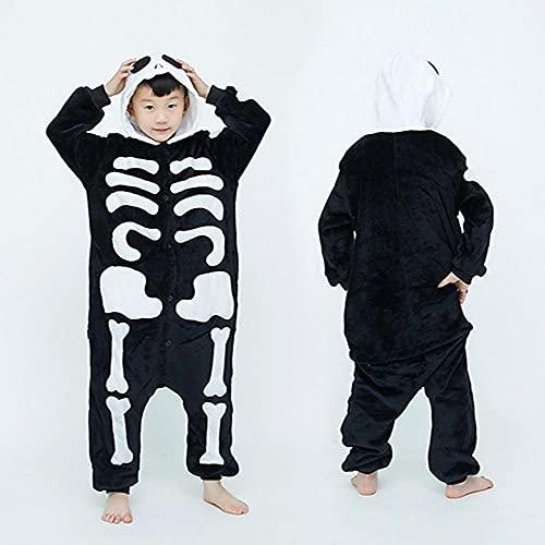 LKHJ Pijamas Enteros Pijamas de patrón de Calavera para niños, Monos de niñas bebés, Pijamas de Miedo, patrón de Esqueleto, Animal-A_10T