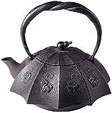 Hervidores de chimenea de hierro fundido, tetera de hierro fundido, tetera japonesa de hierro fundido con infusor para té y bolsitas de té, tetera y tetera para estufa superior, negro, 1,2 l