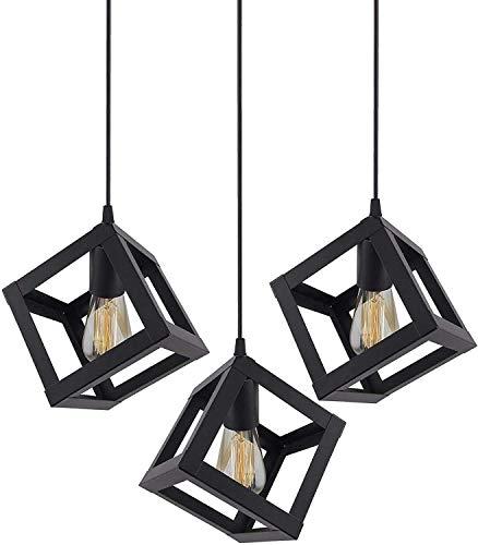 Lámpara de techo cuadrada negra para colgar en el comedor, restaurante, bar, cafetería, 3 unidades (bombilla no incluida)
