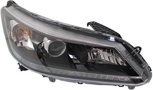 Headlight Assembly Compatible with 2013-2015 Honda Accord Halogen 4Cyl EX/EX-L/LX/Sport Models Sedan Passenger Side