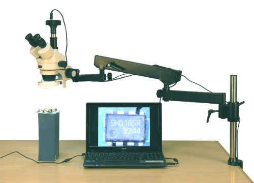 AmScope SM-8TZ-144S-5M Digital Professional Trinocular Stereo Zoom Microscope, WH10x Eyepieces, 3.5X-90X Magnification, 0.7X-4.5X Zoom Objective, 144-Bulb LED Ring Light, Articulating-Arm Boom Stand, 110V-240V, Includes 0.5x and 2.0x Barlow Lenses and 5MP Camera with Reduction Lens and Software