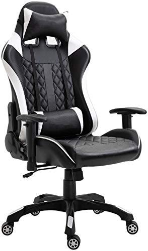 Sillas de juego, sillas de oficina, sillas, juegos de azar, apoyabrazos ajustables giratorias de respaldo con reposacabezas almohada lumbar,black white