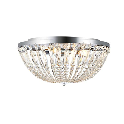 Madeline - Lámpara de techo (4 L), diseño de prismas colgantes y soporte cromado