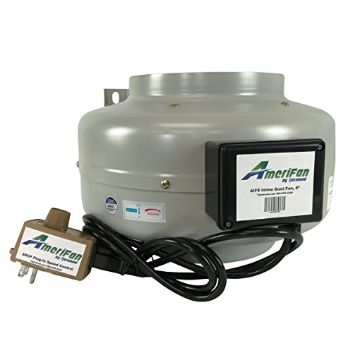 AmeriFan Duct Booster Exhaust, for Growing, Hydroponics, Heating, Cooling, Venting, HVAC, Steel, 120V Supply Voltage, 8 Inch, Speed Controlled