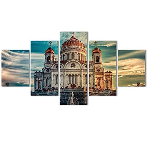 rkmaster canvas schilderkunst print frame 5 panelen modulaire afbeelding van Christus kerk Trekker vliesstoffen voor woonkamer wooncultuur