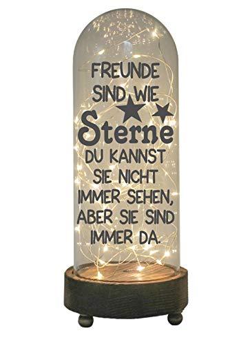 WB wohn trends LED-Glaskuppel XXL mit Motiv, Freunde sind wie Sterne, grau, 29cm, Glas-Licht Lampe mit Text Spruch