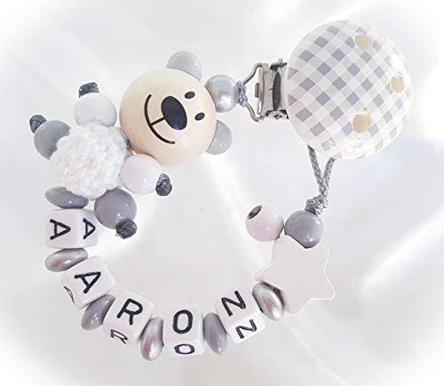 Baby Schnullerkette Teddy für Jungen mit Wunschnamen - Kinder - Geschenk zur Geburt, Taufe - Länge: max. 22cm (ohne Clip) (Vichy, Grau, Weiß)