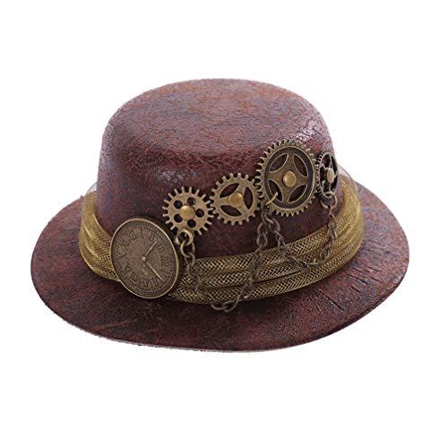 TOYANDONA Mini sombrero de estilo steampunk, con cadena de metal para Halloween, carnaval, cosplay