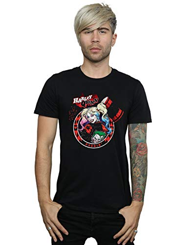 DC Comics Hombre Harley Quinn Joker Patch Camiseta Negro XX-Large