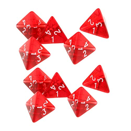 Yiotfandoll 10PCS Polyhedral Dice 20mm D4 for Dungeons and Dragons DND RPG MTG Dice Table Games Transparent Red with Black Bag