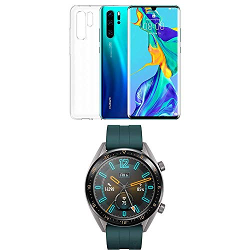 Huawei P30 Pro (Aurora) più cover trasparente + Huawei Watch GT Active Smartwatch, Verde Scuro