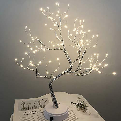 iClosam - Leuchtzweige, 108 LED, Tischlampe, Lichterbaum, 50 cm, LED-Perlen, USB LED-Lichterbaum LED kaltes Licht für den Innenbereich, Büro, Nachttisch Dekoration