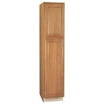 Hampton Bay Hampton Assembled 18 x 84 x 24 in Pantry/Utility Kitchen Cabinet in Medium Oak