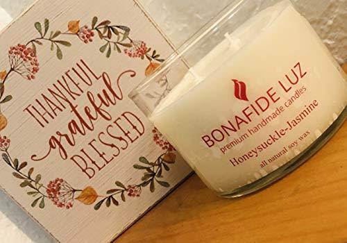 Bonafide Luz Handmade Soy Wax Candle-Honeysuckle-Jasmine-Short Clear Glass with lid