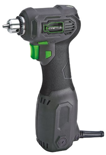 "Genesis GCQD38A 3.5 Amp 3/8"" Variable Speed Close-Quarter Drill with Non-Slip Grip"