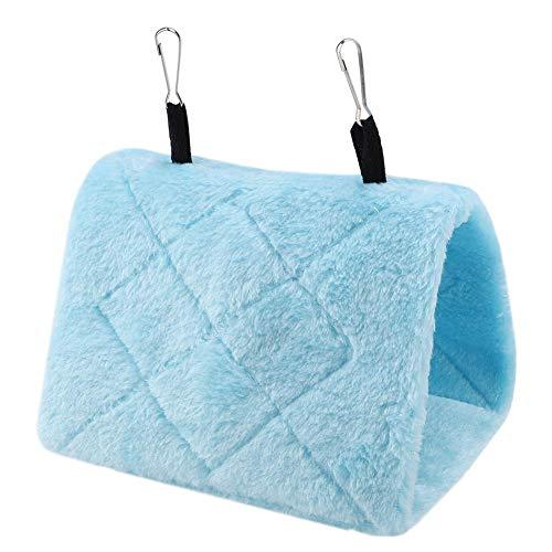 鳥 ハンモック オウムハンモック 鳥テント 鳥のおもちゃ 三角型 吊り下げ巣 ぬいぐるみ フック設計 快適(ブルーM)