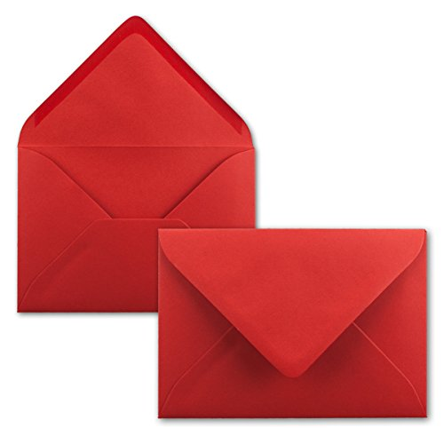 Briefumschläge in Rot - 50 Stück - DIN C5 Kuverts 22,0 x 15,4 cm - Nassklebung ohne Fenster - Weihnachten, Grußkarten - Serie FarbenFroh