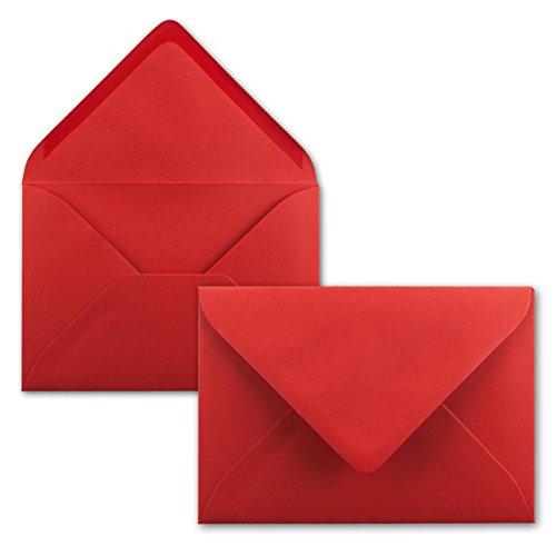 50 Brief-Umschläge - Rot - DIN C6-114 x 162 mm - Kuverts mit Nassklebung ohne Fenster für Gruß-Karten & Einladungen - Serie FarbenFroh®