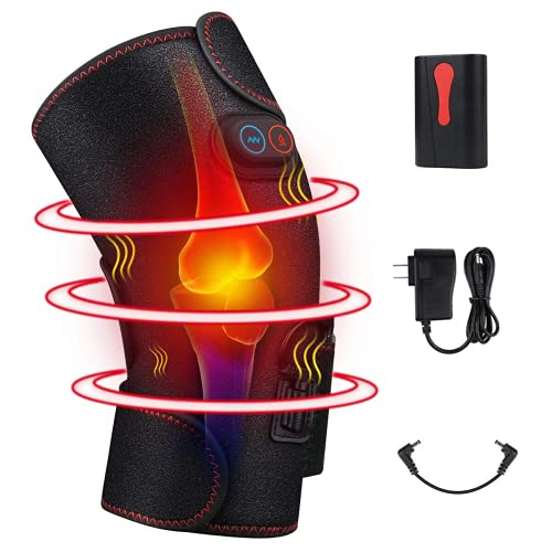 Heated Knee Massager, Heat & Vibration Electric Heating Pad for Muscles Knee Pain Relief, Leg Massager, Massage Knee Brace Wrap for Arthritis Pain and Support