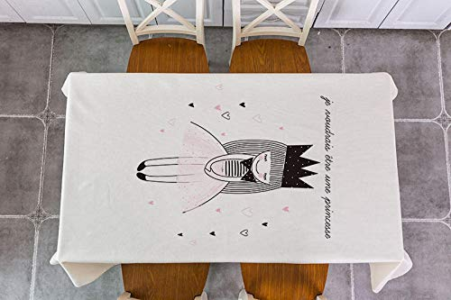 Mantel Rectangular 140x180cm PVC Impermeable Antimanchas Durable Lavable Manteles Corazón Femenino Rosa Impresos Adecuado para Decorar Cocina Comedor Salón