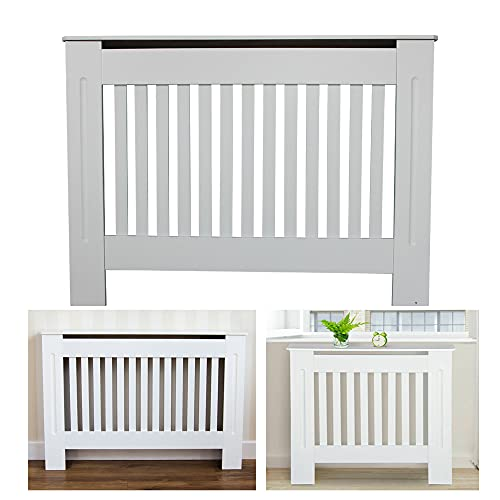 Traditional MDF Wood Radiator Cover Slatted Shelf Cabinet Home Office Heater Cover Vent Flat Packed Easy Assembly Medium: H 82 x W 112x D 19 Cm