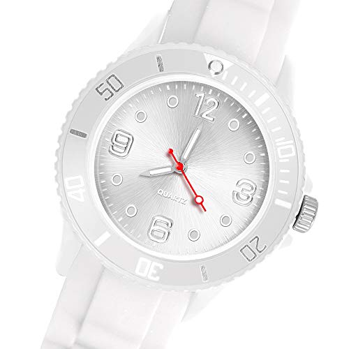 Taffstyle Deutschland Damen Uhr Analog Quarz mit Silikon-Armband Sport Farbige Sportuhr Bunte Armbanduhr Herren Kinder 43mm Weiß