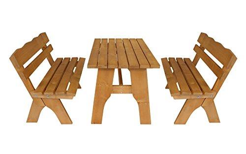 DEGAMO Gartengarnitur Freital 3-teilig 120cm, 2X Bank 120cm und 1x Tisch 70x120cm, Kiefer imprägniert