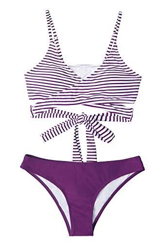 CUPSHE Conjunto de Bikini Mujer Rayas Anudado Cintura Baja Traje de Baño de Dos Piezas, XL