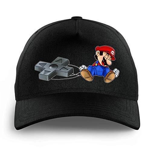 OKIWOKI Super Mario Lustiges Schwarz Kinder Kappe - Super Mario (Super Mario Parodie signiert Hochwertiges Kappe - Einheitsgröße - Ref : 782)