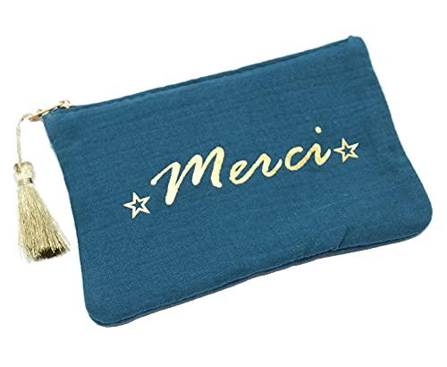 Oh My Shop ATM154 - Trousse Pochette Coton Bleu Canard Message Merci Pompon Doré