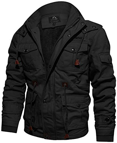 TACVASEN Outdoorjacke Herren Winter Cargojacke Winddicht Winterparka Warm Outdoorjacke Warme Jacke Cargo Arbeitsjacke Feldjacke Bomberjacke Gefütterte Winterjacke Herbst Casual Jacke Baumwoll Jacke