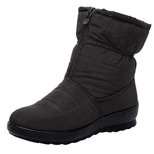Yowablo Damen Herbst/Winter Stiefeletten Plus Samt Dicke wasserdichte warme Schneeschuhe Martin Stiefel Kurze Stiefel (37 EU,Braun)