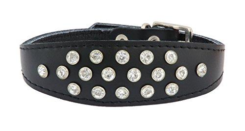 Sportymax® coollar exclusieve kristallen hondenhalsband in verschillende kleuren en lengtes, Halsumfang 20-25cm, zwart