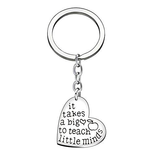 "Best Teacher Gift""It Takes a Big Heart to Help Shape Little Minds"" Charm Love Heart Pendant Keychain (B)"
