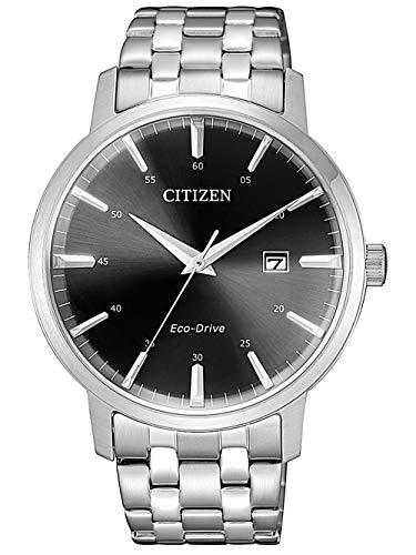 Citizen BM7460-88E Eco Drive Uhr Herrenuhr Edelstahl 5 bar Analog Datum Silber