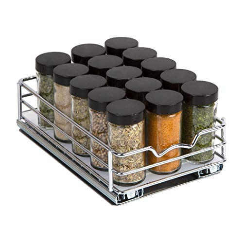 Spice Rack Organizer for Cabinet – Pull Out Spice Rack Heavy Duty Chrome 6-38Wx 10-38D x 2-18 H Slide Out for Upper Kitchen Cabinets and Pantry Closet For Spices Sauces Canned Food etc