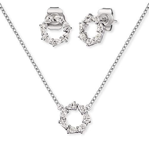 Engelsrufer Set ERMT-LILLUNA2-ZI Halskette und Ohrstecker Sterling Silber synthetische Zirkonia