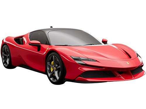 Ferrari SF90 Stradale Rosso Corsa 322 with Black Top with Display CASE Limited Edition to 90 Pieces Worldwide 1/18 Model Car by BBR P18180A2