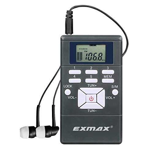 EXMAX EXG-108 Wireless Stereo FM Radio Receiver Portable Pocket Small Mini FM Radio Receiver Earbuds LCD Clock Earphone for FM Translator Tour Guide System Jogging Running Walking Yardwork - Gray