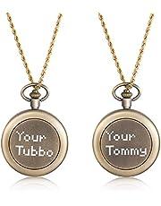 CusGifta (Gouden/Messing Kleur) Messing Kompas voor Navigatie, Zakkompas met ketting, Belettering Kompas, Kompas Tommy & Tubbo/Kompas Tommy/Kompas Tubbo