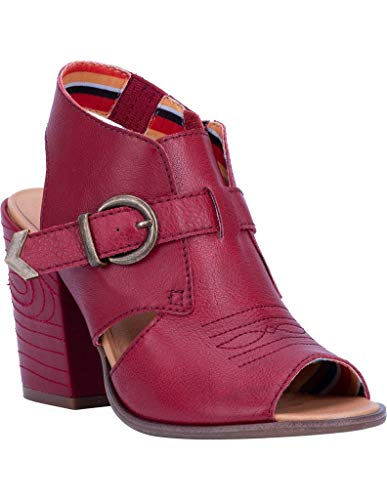 Dingo Women's Stirrup Harness Fashion Booties Peep Toe Red 6.5 M