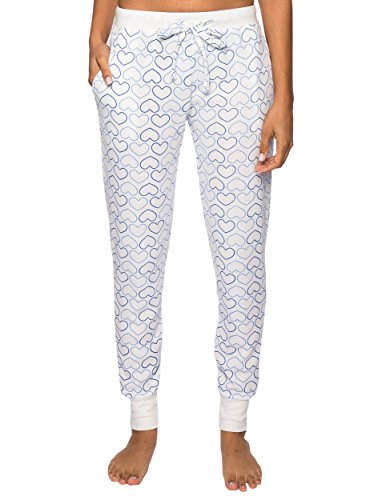 Noble Mount Thermal Jogger Pajama Pants for Women - Tile of Hearts White/Blue - Medium