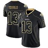 XIKONG Maillot de Rugby Thomas 13# pour Homme, Maillots de Football Américain New Orleans Saints, T-Shirt de Football-Black-S(160~175)