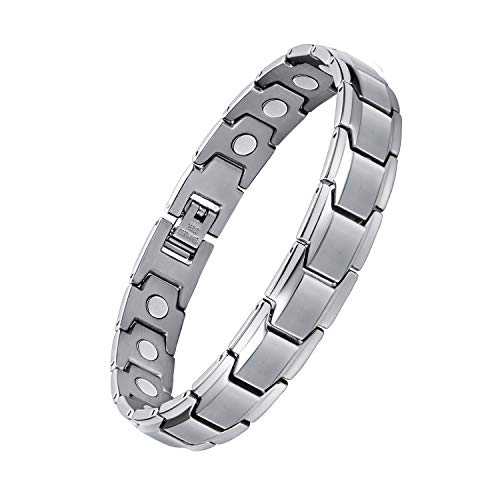 Feraco Magnetic Bracelets for Men Classic Titanium Stainless Steel Magnet Therapy Bracelet Healing Carpal Tunnel Pain Relief