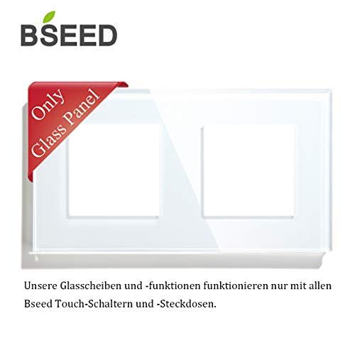 BSEED Rahmen Glasrahmen Kombiblende für Lichtschalter und Steckdose Weiß 157mm