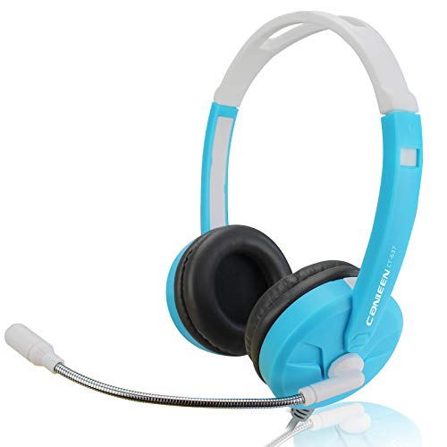 Wearing a wired voice headset computer laptop Internet cafe headphones with microphone White blue