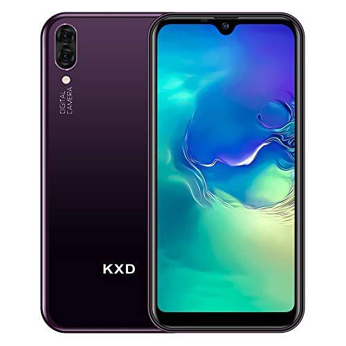 Teléfono Móvil Libres KXD A1 Android 8.1 Quad Core Smartphone Libre Baratos 3G Dual SIM, Pantalla 5,71' IPS Water-Drop Screen Movil, Cámara Trasera y Frontal 5MP 16GB ROM (128GB Ampliable SD), Morado