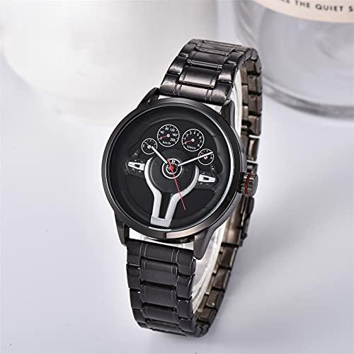 HEEYEE Reloj de dirección de Rueda de automóvil Deportivo, Relojes de automóviles Hombres Deportes Relojes de Pulsera de Cuarzo a Prueba de Agua Relojes para Hombre,Negro