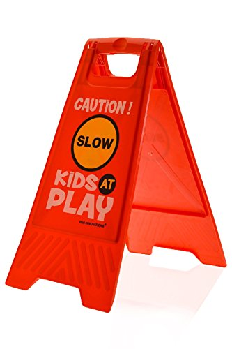 Slow - Caution Double-Sided, Red Essentially Yours 2 Pack Kids Playing Safety Floor Sign for Yards and Driveways Kids at Play