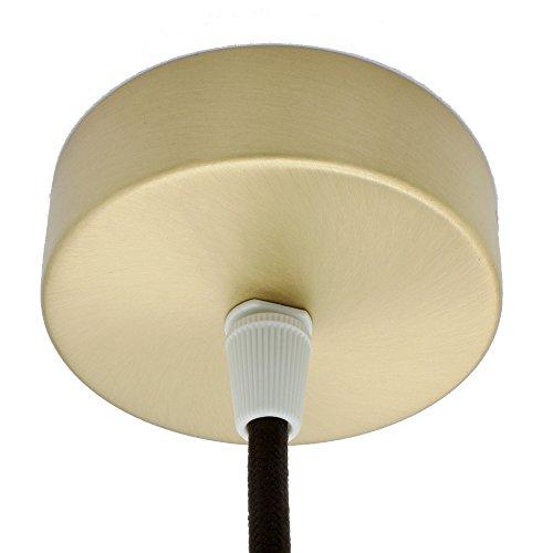 Aansluitdoos geborsteld metaal in set met accessoires ø 80x25mm verdeelbaldakijn opbouwdoos verdeeldoos met trekontlasting plafond baldakijn voor hanglampen en hanglampen messing mat